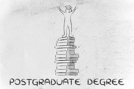 postgraduate: postgraduate degree: happy person with graduation cap on top of pile of books