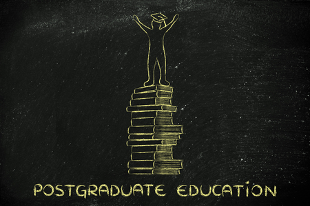 master degree: postgraduate education: happy person with graduation cap on top of pile of books