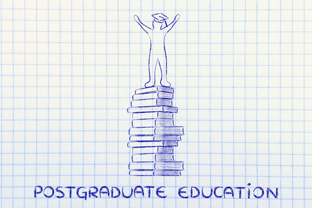 postgraduate: postgraduate education: happy person with graduation cap on top of pile of books