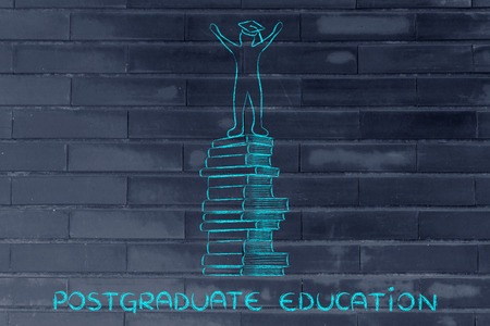 postgraduate: postgraduate education: happy person with graduation cap on top of pile of books