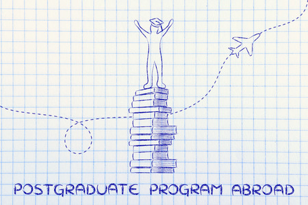 postgraduate: postgraduate program abroad: happy graduated student on top of books with airplaine in the background