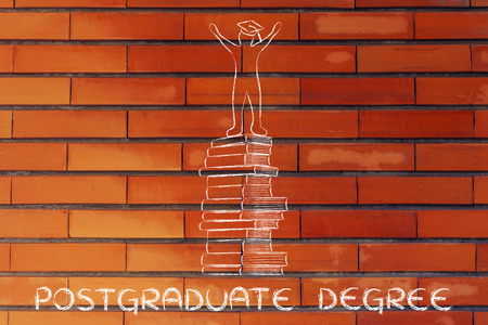 master degree: postgraduate degree: happy person with graduation cap on top of pile of books