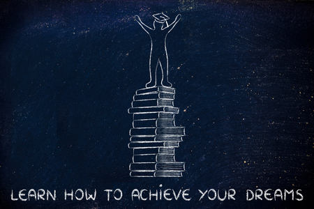 master degree: learn how to achieve your dreams: happy person with graduation cap on top of pile of books