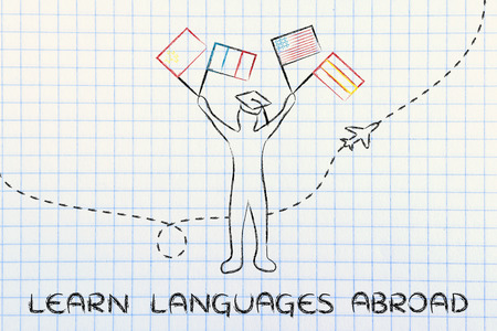 foreign nation: person holding flags and airplane flying in the background, concept of learning languages abroad Stock Photo