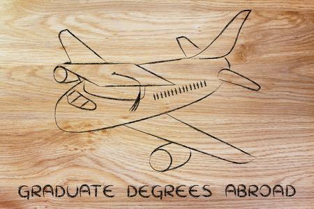 master degree: international graduate degrees abrod: airplaine with graduation cap