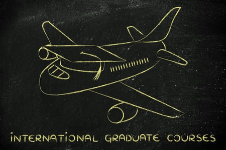 master degree: international courses and studying abroad: airplaine with graduation cap