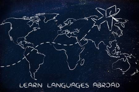master degree: airplane with graduation hat flying above world map, learn languages abroad
