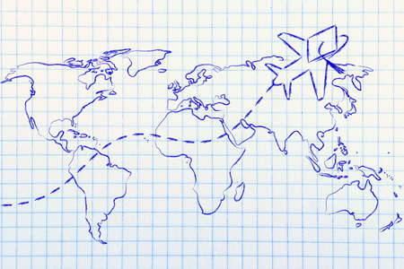 airplane with graduation hat flying above world map, concept of studying abroad