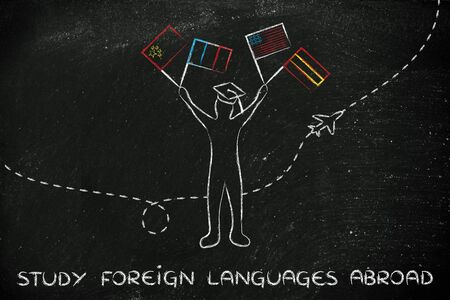 foreign nation: person holding flags and airplane flying in the background, concept of studying foreign languages
