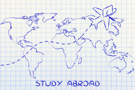 abroad: airplane with graduation hat flying above world map, study abroad