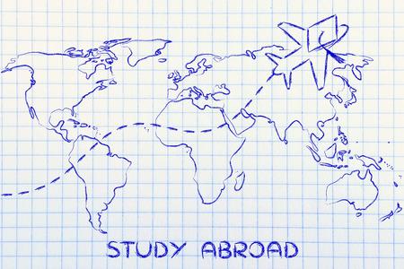 avion avec l'obtention du diplôme chapeau volant au-dessus carte du monde, études à l'étranger