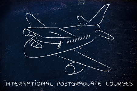postgraduate: international postgraduate courses and studying abroad: airplaine with graduation cap