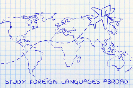 languages: airplane with graduation hat flying above world map, study foreign languages abroad