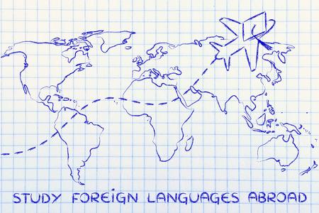 idiomas: avión con sombrero de graduación volando por encima de mapa del mundo, el estudio de las lenguas extranjeras en el extranjero Foto de archivo