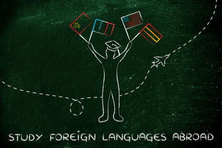 master degree: person holding flags and airplane flying in the background, concept of studying foreign languages