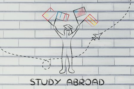 foreign nation: person holding flags and airplane flying in the background, concept of studying abroad Stock Photo
