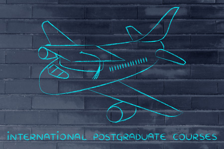 master degree: international postgraduate courses and studying abroad: airplaine with graduation cap