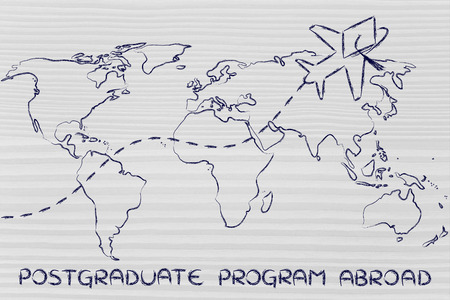 master degree: airplane with graduation hat flying above world map, concept of postgraduate programs abroad