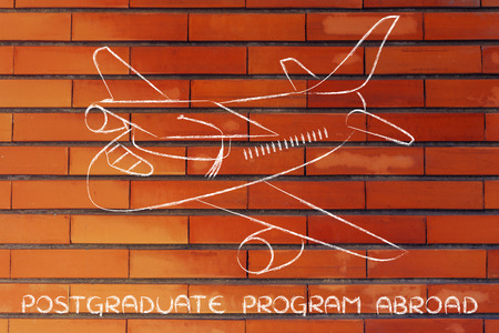 postgraduate: international postgraduate programs and studying abroad: airplaine with graduation cap Stock Photo