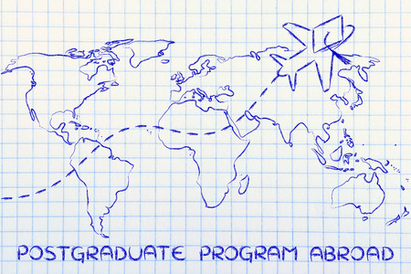 postgraduate: airplane with graduation hat flying above world map, concept of postgraduate programs abroad