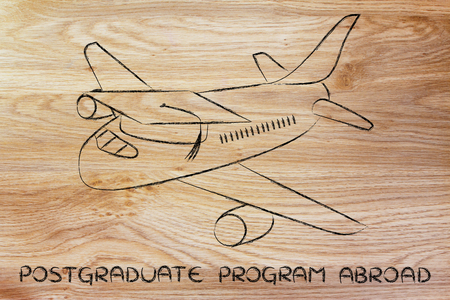 master degree: international postgraduate programs and studying abroad: airplaine with graduation cap Stock Photo
