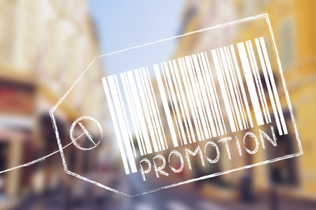 technical department: product price tag with bar code and caption Promotion Stock Photo