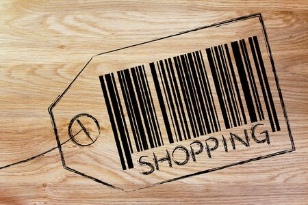 retail shopping: marketing and the retail industry: item label with code bar saying Shopping Stock Photo