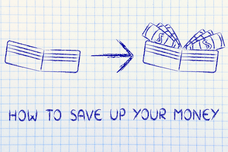 saving tips: how to save up your money: illustration with wallet going from empty to full of dollars Stock Photo