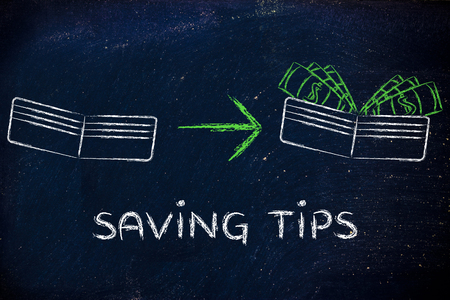 saving tips: saving tips: illustration with wallet going from empty to full of dollars