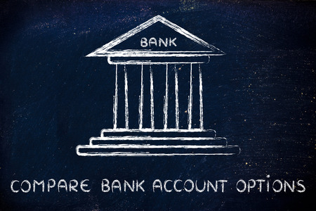 comparing: bank illustration, concept of comparing account options