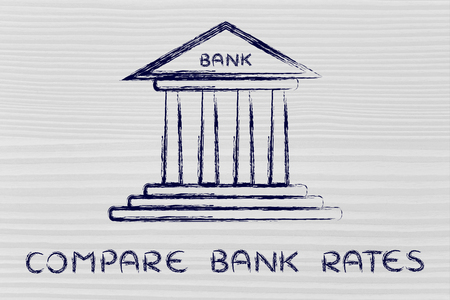 comparing: bank illustration, concept of comparing rates Stock Photo