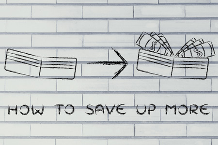 saving tips: how to save up more: illustration with wallet going from empty to full of dollars Stock Photo
