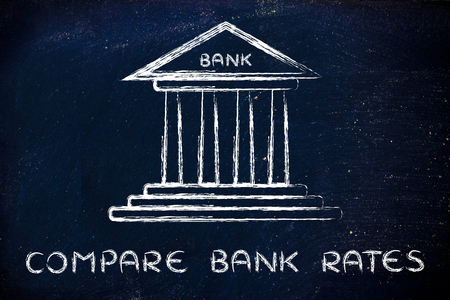 rates: bank illustration, concept of comparing rates Stock Photo