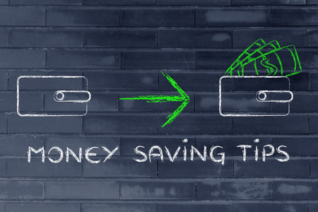 saving tips: money savint tips: illustration with closed wallet going from empty to full of dollars Stock Photo