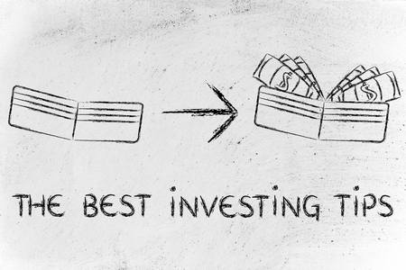 saving tips: the best investing tips: illustration with wallet going from empty to full of dollars Stock Photo