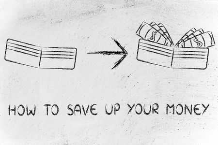 how to: how to save up your money: illustration with wallet going from empty to full of dollars Stock Photo