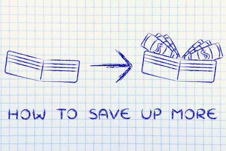 how to: how to save up more: illustration with wallet going from empty to full of dollars Stock Photo