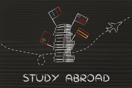 pile of books with flags and airplane flying in the background, studying abroad