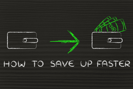 saving tips: how to save up faster: closed wallet going from empty to full