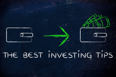 saving tips: the best investing tips:closed wallet or pruse going from empty to full of dollars