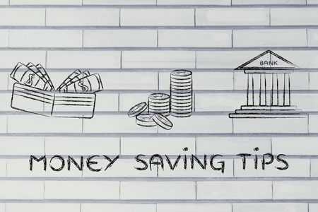 saving tips: money saving tips: illustration with wallet, coins and bank Stock Photo