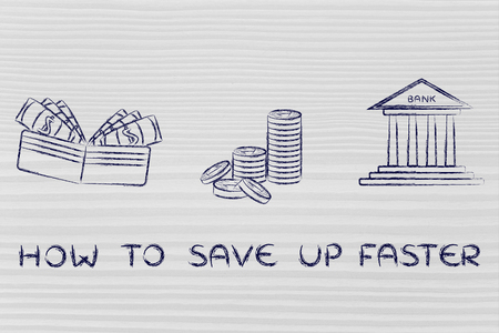 faster: about learning to save money faster: illustration with wallet, coins and bank