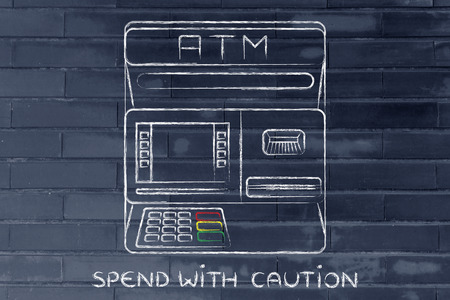 automatic teller machine bank: finance and banking services: design of an atm bank with text Spend with caution