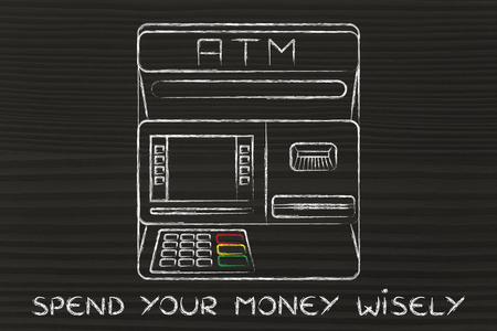 automatic teller machine bank: banking services: design of an atm bank with text Spend your money wisely Stock Photo
