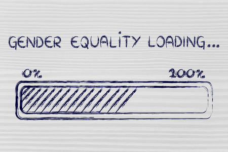 a better word: progress bar metaphorically loading more gender equality Stock Photo