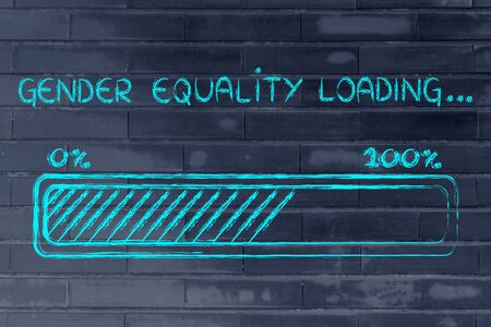 gender equality: a better word: progress bar metaphorically loading more gender equality Stock Photo
