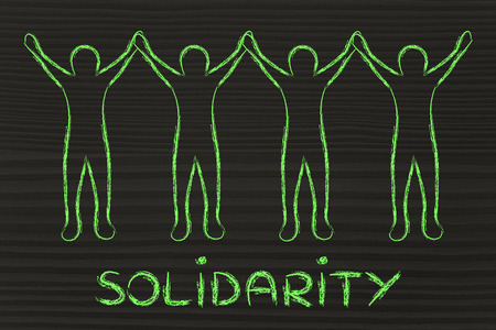 solidaridad: solidarity: people holding hands and standing united