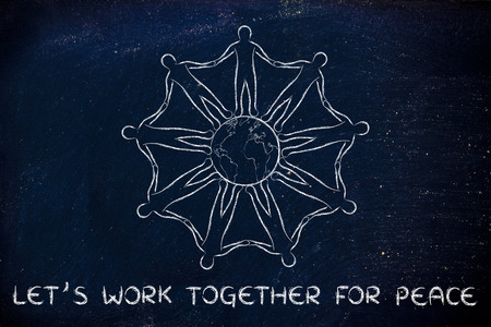 mankind: lets work together for peace: mankind holding hands around planet earth Stock Photo