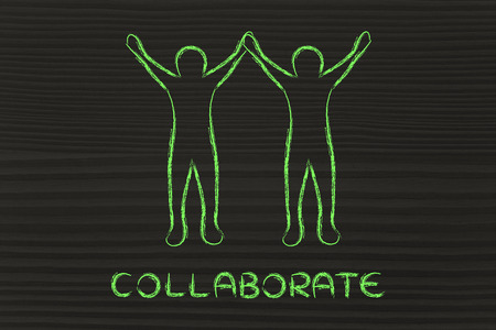 collaborations and partnerships: people holding hands and rejoicing of being a team
