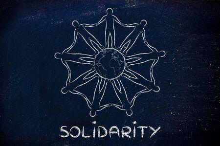 solidaridad: la solidaridad: la humanidad de la mano de todo el planeta tierra Foto de archivo